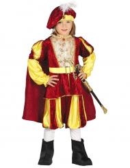 Disfraz de rey terciopelo rojo y amarillo niño