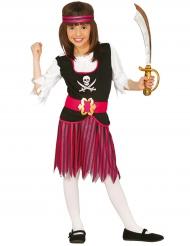 Disfraz pirata rayado rosa y negro niña