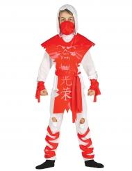 Disfraz ninja fantasma blanco y rojo niño