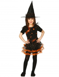 Disfraz bruja estrella negro y naranja niña Halloween