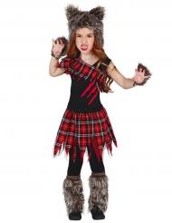 Disfraz de hombre lobo de campus niña Halloween