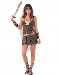 Disfraz guerrera romana para mujer marrón y dorado