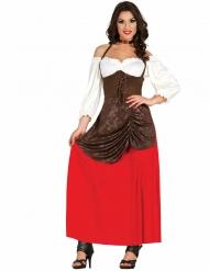 Disfraz tabernera marrón y rojo mujer