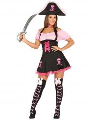 Disfraz pirata rosa y negro mujer