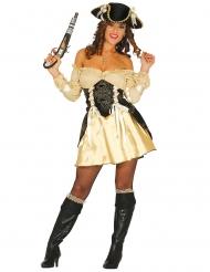 Disfraz pirata dorado sexy mujer