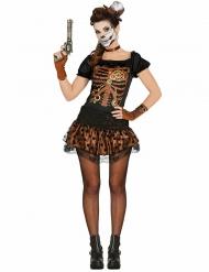 Disfraz esqueleto negro y cobre mujer Steampunk