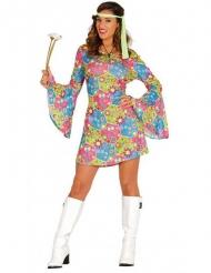 Disfraz hippie con símbolos de colores mujer