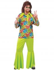 Disfraz hippie verde con símbolos colores hombre