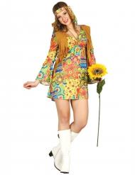 Disfraz hippie con símbolos multicolor y chaleco mujer