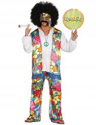 Disfraz hippie flores grandes adulto