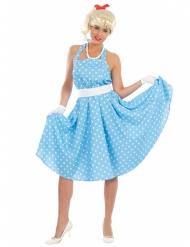 Disfraz azul con lunares años 50 mujer