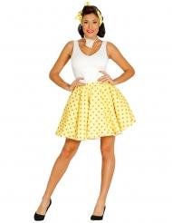 Falda y fular amarillo con lunares años 50 mujer