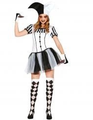 Disfraz arlequín negro y blanco mujer