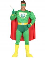 Disfraz humorístico superhéroe hoja de cannabis adulto