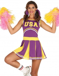 Disfraz animadora USA morado y amarillo mujer