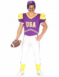 Disfraz futbolista americano violeta y blanco adulto
