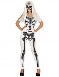 Disfraz mono esqueleto blanco mujer Halloween