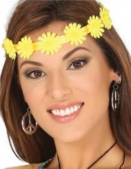 Corona de flores amarillas adulto