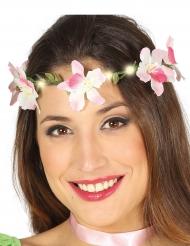 Corona de flores rosas luminosas adulto