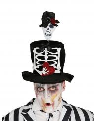 Sombrero de copa novia esqueleto para adulto Halloween