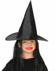 Sombrero bruja con pelo negro niño