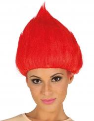 Peluca troll rojo adulto