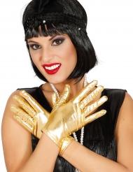 Guantes cortos metálicos dorado mujer