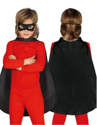 Capa superhéroe negra 55 cm niño