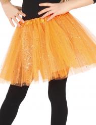 Tutu naranja con purpurina niña
