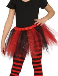 Tutu bicolor negro y rojo con purpurina niña