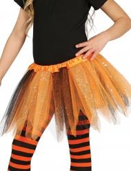 Tutú bicolor negro y naranja con brillantinas niña