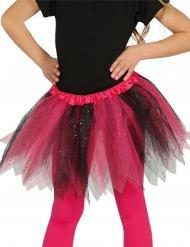 Tutú bicolor negro y rosa con brillantinas niña