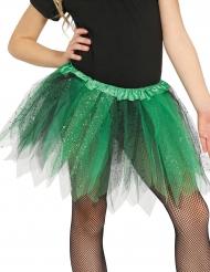 Tutu bicolor negro y verde con purpurina niña