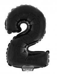 Globo aluminio cifra 2 negro 40 cm