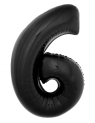 Globo aluminio gigante cifra 6 negro 1 m