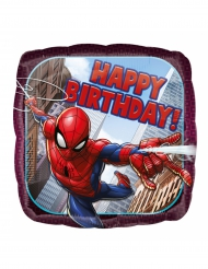Globo de aluminio cuadrado Spiderman™ Happy Birthday 43 cm