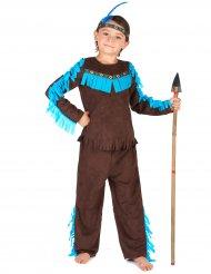 Disfraz indio marrón y azul niño