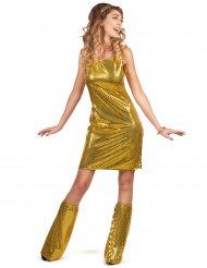 Disfraz disco dorado con lentejuelas mujer