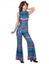 Disfraz años 70 azul mujer