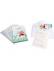 6 Tarjetas de invitación con sobres Princesa 10 x 15 cm