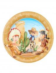 6 Platos indio y cowboy 23 cm
