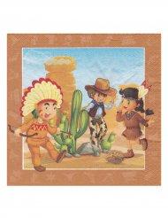 20 Servilletas indio y cowboy 33 x 33 cm
