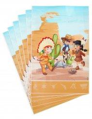 6 Bolsas de regalo Cowboy e Indio 15 x 23 cm