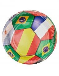 6 Platos de cartón fútbol banderas 23 cm