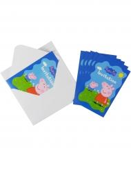 6 Tarjetas de invitación y sobres Peppa Pig™