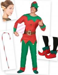 Kit disfraz elfo hombre con cubre botas, orejas y bastón