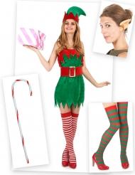 Kit disfraz elfo mujer con orejas, medias y bastón