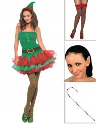 Kit disfraz elfo sexy mujer con medias, orejas y bastón
