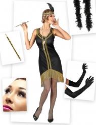 Kit disfraz Charlestón negro y dorado mujer