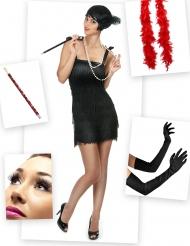 Pack disfraz Charlestón rojo y negro mujer